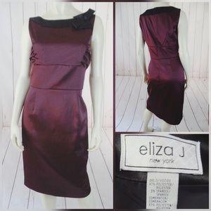 Eliza J Dress 8 RumRaisin Shiny PolySpandex Sheath